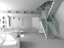 Interior moderno en blanco imagen de archivo libre de regalías