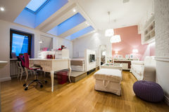 Interior moderno espaçoso do sótão Imagem de Stock Royalty Free