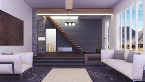 Interior moderno hermoso de la sala de estar Fotografía de archivo libre de regalías