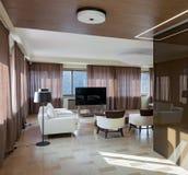 Interior moderno home do teatro com janelas grandes Imagens de Stock Royalty Free