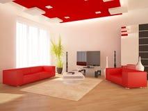 Interior moderno rojo Fotos de archivo libres de regalías