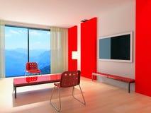 Interior moderno rojo Foto de archivo