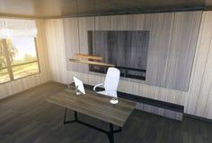 Interior moderno y mínimo de la oficina del jefe Imagen de archivo libre de regalías