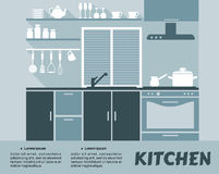 Interior modular de la cocina en diseño plano stock de ilustración