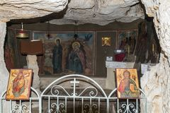 Interior of the monastery of St. George Hosevit Mar Jaris in Wadi Kelt near Mitzpe Yeriho in Israel stock photo