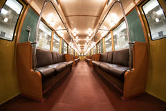 The interior of Moscow`s subway retro train of 1934. June 10, 2017. Moscow. Russia. The interior of Moscow`s subway retro train of 1934. Moscow. Russia. June 10 Royalty Free Stock Photos