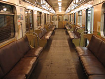 Interior of Moscow subway car. (built in 1973 stock image