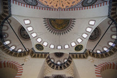 Interior of the mosque in istanbul. 20 july, 2014 Royalty Free Stock Photography