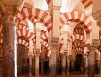 Interior of Mosque (Mezquita) cathedral of Cordoba Stock Images