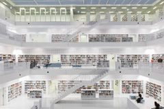 Interior of most futuristic Library in white with staircases. Stock Image