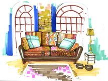 Interior. a motley sofa with pillows. Big sofa with a pillows, in a motley colors, carpet, lamp. Windows in a brick wall on a background stock illustration