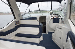 Interior of a motor boat Stock Photo