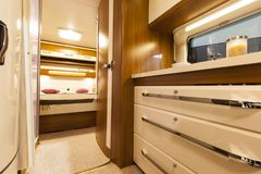 Interior of Motorhome. Modern new interior of motorhome Royalty Free Stock Photography