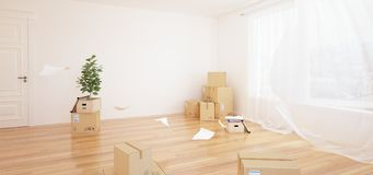 Interior with moving boxes in empty white room. Interior with moving boxes and flowers in empty white room royalty free illustration