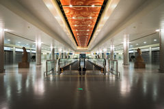 Interior / moving walkway of the terminal connection area in Shanghai Pudong airport, China Stock Photography