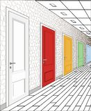 Interior of multi-colored doors on a white background. Illustration of a long corridor. Concept of infinite royalty free illustration