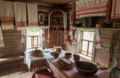 The interior of the museum of wooden architecture Vitoslavlitsy Stock Image