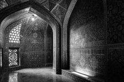 Interior mysterious passageway inside the Sheikh Lotfollah Mosque at Naqhsh-e Jahan Square in Isfahan, Iran stock photo