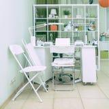 Interior nail salon and manicurist jobs in spa salon. Interior nail salon and manicurist jobs in the spa salon stock photography