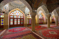 Interior of Nasir al-Mulk Mosque in Shiraz, Iran. Interior of Nasir al-Mulk Mosque (Pink Mosque) in Shiraz, Iran on April 15, 2015. This mosque was built between stock photography
