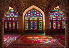 Interior of Nasirolmolk Mosque in Shiraz with Colorful Stained Glass Windows Royalty Free Stock Photos