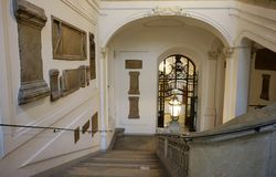 Decoration of the stairs leading to the National Austrian Library at the Hofburg Palace stock photo