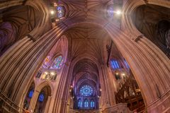 Interior of the National Cathedral in Washington DC, USA stock photo