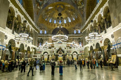 The interior of the Naval Cathedral in Christmas winter evening Stock Image