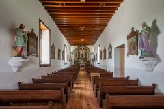 Ysleta Mission. Interior and nave of the Ysleta Mission church on Zaragosa Road in El Paso, Texas Royalty Free Stock Photos