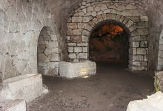 The interior of the necropolis in the Bet She`arim National Park  in the Kiriyat Tivon city in Israel. The interior of the necropolis in the Bet She`arim Royalty Free Stock Images