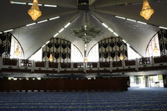 Interior of Negeri Sembilan State Mosque in Negeri Sembilan, Malaysia. SEREMBAN, MALAYSIA – FEBRUARY 14, 2014:  Negeri Sembilan's state mosque. It is located Royalty Free Stock Image