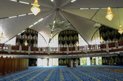 Interior of Negeri Sembilan State Mosque in Negeri Sembilan, Malaysia. SEREMBAN, MALAYSIA – FEBRUARY 14, 2014:  Negeri Sembilan's state mosque. It is located Royalty Free Stock Photos