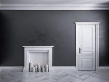Interior negro clásico con la puerta, el entarimado, y la chimenea con las velas Imágenes de archivo libres de regalías