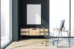 Interior negro del despacho de dirección del ladrillo, cartel ilustración del vector