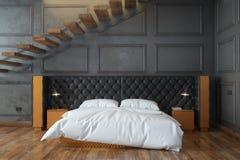 Interior negro del dormitorio con las escaleras (Front View) Fotos de archivo libres de regalías