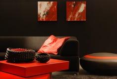 Interior negro y rojo Foto de archivo libre de regalías