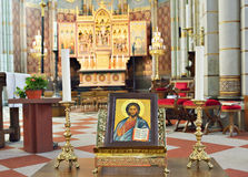 Interior of neogothic parish Saint Joseph's church Royalty Free Stock Photos
