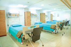 Interior of new empty hospital room fully equipped Stock Photos