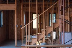 New home construction interior of home frame royalty free stock photos