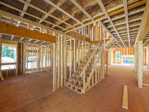 Interior new house framing. Interior framing of a new house under construction Royalty Free Stock Photos