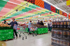 Interior of the new hypermarket Magnet Stock Images
