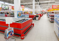 Interior of the new hypermarket Magnet Stock Image