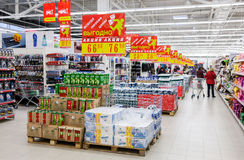 Interior of the new hypermarket Magnit Stock Image