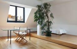 Interior, new loft. Interior, beautiful loft, hardwood floor, dining table Royalty Free Stock Photography