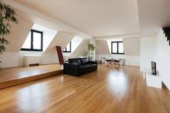 Interior, new loft. Interior, beautiful loft, hardwood floor, living room Royalty Free Stock Images