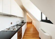 Interior, new loft. Interior, beautiful loft, hardwood floor, modern kitchen Stock Images