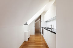 Interior, new loft. Interior, beautiful loft, hardwood floor, modern kitchen Royalty Free Stock Images