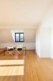 Interior, new loft. Interior, beautiful loft, hardwood floor, view dining table Royalty Free Stock Images