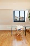 Interior, new loft. Interior, beautiful loft, hardwood floor, view dining table Royalty Free Stock Image