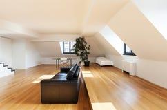 Interior, new loft. Interior, beautiful loft, hardwood floor, view living room Stock Photo